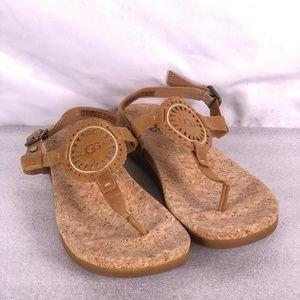 Women's Ugg Ayden II T-Strap Sandals - Almond